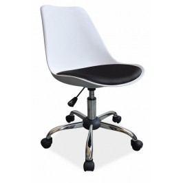 Kancelářská otáčecí židle v bílé barvě s podsedákem z ekokůže v černé barvě typ Q 777 KN1022