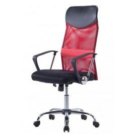 Kancelářské křeslo v kombinaci látky a ekokůže červené F1194