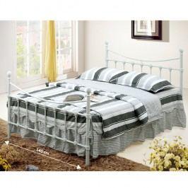 Manželská postel bílá kovová s lamelovým roštem 140x200 cm TK053