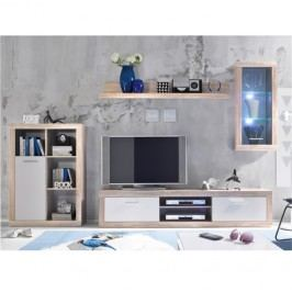 Obývací stěna v kombinaci bílé a dub sonoma TK2245