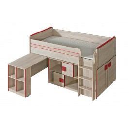 Patrová postel 200x90 cm se stolkem v dekoru dub santana s červenou barvou typ G19 KN861