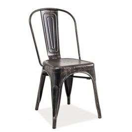 Industriální jídelní kovová židle v černé přetírané barvě KN380