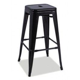Barová kovová židle v matné černé barvě KN740