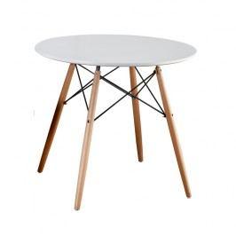 Jídelní stůl kulatý 80 cm bílý s dřevěnými nožkami a kovovým zdobením TK259