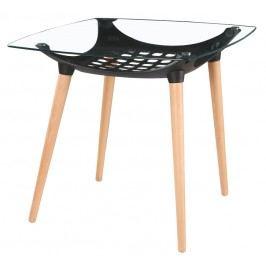 Jídelní stůl s deskou s čirým sklem a úložným prostorem v černé barvě KN625