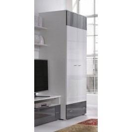 Šatní skříň 80 cm s dveřmi v bílé barvě a lesklé grafit s bílým korpusem typ R1 F2006