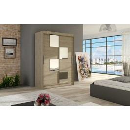 Šatní skříň s posuvnými dveřmi v dekoru dub sonoma se zrcadly do čtverce F1126