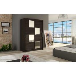 Šatní skříň s posuvnými dveřmi v tmavě hnědé barvě se zrcadly do čtverce F1126