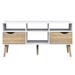 Televizní stolek v bílé barvě s prvky dekoru dub typ 391 F2005