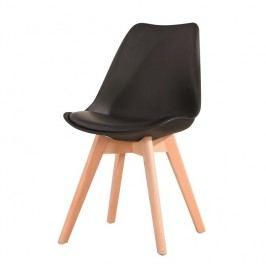Plastová černá jídelní židle s dřevěnou podstavou a měkkým sedákem TK191