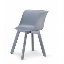 Plastové jídelní křeslo v decentní šedé s dřevěnou podstavou a zajímavým tvarováním TK240