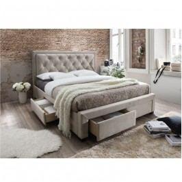 Manželská postel s roštem 180x200 cm látka šedohnědá TK3004