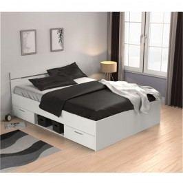 Manželská postel 140x200 cm bílá s úložným prostorem TK3005