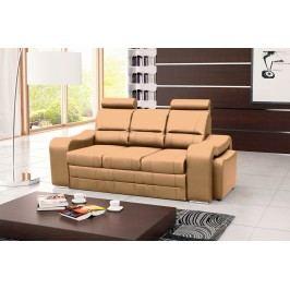 Pohodlná pohovka s dvěma taburety v béžové ekokůži F1232