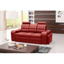 Pohodlná pohovka s dvěma taburety v červené ekokůži F1232