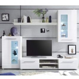 Lesklá obývací stěna v bílé barvě v kombinaci se sklem TK308