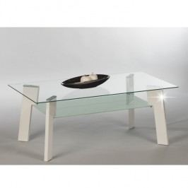 Konferenční stolek z materiálu MDF v bílé barvě ve vysokém lesku se sklem TK309