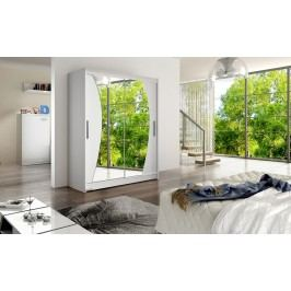 Elegantní šatní skříň s posuvnými dveřmi a zrcadly v barevném provedení bílá typ X KN387
