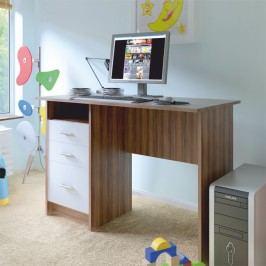 Počítačový stůl 110x55 cm v dekoru švestky s bílými zásuvkami TK2079
