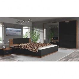 Ložnicový komplet (skříň + postel + 2x noční stolek), ořech a černá, DEGAS