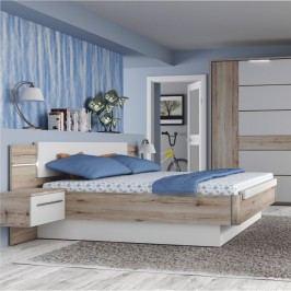 Manželská postel a 2 noční stolky v kombinaci dub bergamo a bílý lesk TK2189