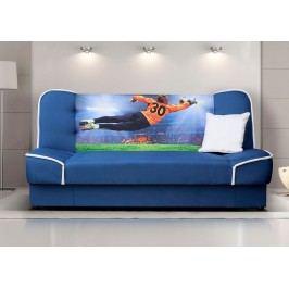 Rozkládací pohovka s úložným prostorem v modré barvě se vzorem fotbalisty F1135