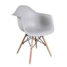 Designové trendy křeslo v kombinaci dřeva buk a plastu šedé barvy TK190