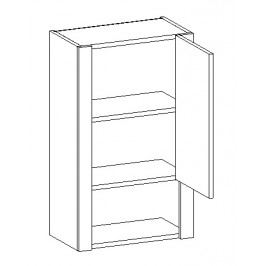 Horní skříňka do koupelny 45 cm v pravém provedení duglaska a bílý lesk W45 KN481