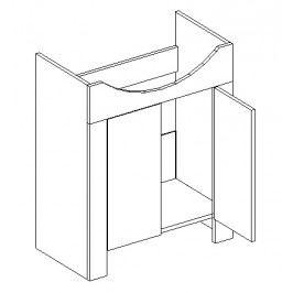 Dolní skříňka pod umyvadlo 56 cm akácie a vanilka lesk DUM KN481