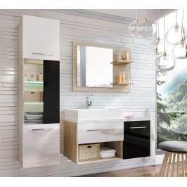 Koupelnová sestava dub sonoma a černý lesk s umyvadlem a LED osvětlením KN486