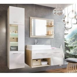 Koupelnová sestava dub sonoma a bílý lesk s umyvadlem a LED osvětlením KN486
