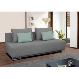 Rozkládací pohovka s úložným prostorem v šedé barvě se zelenými polštářky F1150