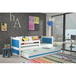 Dětská postel s přistýlkou v kombinaci bílé a modré barvy 90x200 F1133