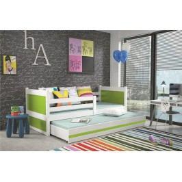 Dětská postel s přistýlkou v kombinaci bílé a zelené barvy 90x200 F1133