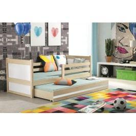 Dětská postel s přistýlkou v dekoru borovice v kombinaci s bílou barvou 90x200 F1133