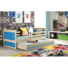 Dětská postel s přistýlkou v dekoru borovice v kombinaci s modrou barvou 90x200 F1133