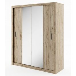 Šatní skříň s posuvnými dveřmi v dekoru dub sanremo se zrcadlem typ 03 KN343
