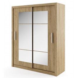 Šatní skříň s posuvnými dveřmi v dekoru dub shetland se zrcadlem typ 02 KN343