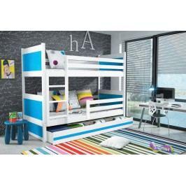 Dětská patrová postel s úložným prostorem v kombinaci bílé a modré barvy F1133