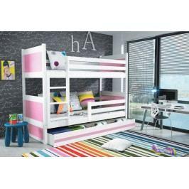Dětská patrová postel s úložným prostorem v kombinaci bílé a růžové barvy F1133