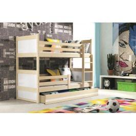 Dětská patrová postel s úložným prostorem v dekoru borovice v kombinaci s bílou barvou F1133