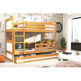 Dětská patrová postel s úložným prostorem v dekoru olše v kombinaci s bílou barvou F1133