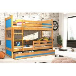 Dětská patrová postel s úložným prostorem v dekoru olše v kombinaci s modrou barvou F1133