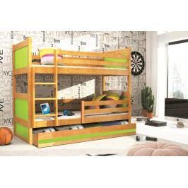 Dětská patrová postel s úložným prostorem v dekoru olše v kombinaci se zelenou barvou F1133
