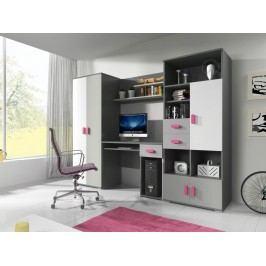 Dětský pokoj v šedé barvě růžové úchytky F1180