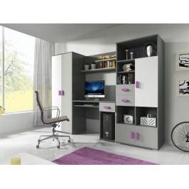 Dětský pokoj v šedé barvě fialové úchytky F1180