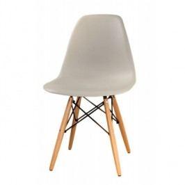 Designová jídelní židle plastová v šedé barvě a dekoru buk TK078