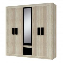 Šatní skříň 231 cm se zrcadlem v dekoru dub s prvky černé barvy s korpusem dub sonoma typ 21 F2003