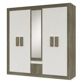 Šatní skříň 231 cm se zrcadlem s bílými dveřmi s prvky dekoru dub s korpusem dub trufla typ 21 F2003