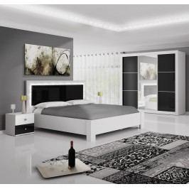 Ložnicová sestava v bílé barvě s černým leskem F2007